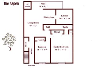 two bedroom apartment floor plan in Maple Shade, NJ at Pickwick Apartments