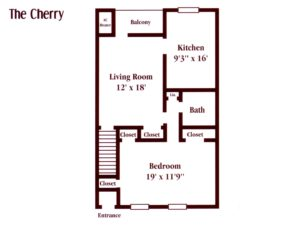 floor plan for a one bedroom apartment in Maple Shade, NJ