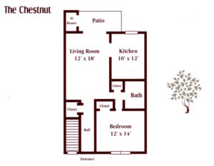 one bedroom apartment floor plan in Maple Shade, NJ