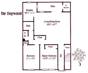 two bedroom apartment floor plan at Pickwick Apartments in Maple Shade