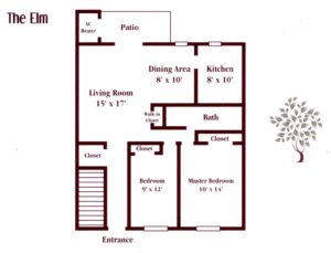 floor plan for a two bedroom apartment in Maple Shade, NJ