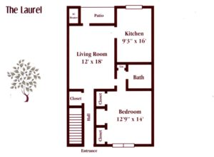 one bedroom apartment floor plan at Pickwick Apartments in Maple Shade