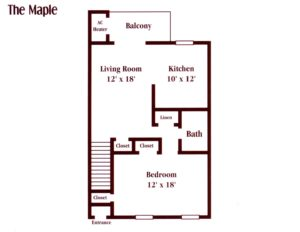 floor plan for a one bedroom apartment at Pickwick Apartments in Maple Shade, NJ