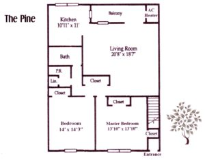 floor plan for a two bedroom apartment at Pickwick Apartments in Maple Shade, NJ