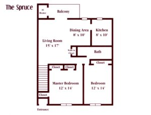 two bedroom apartment floor plan in Maple Shade, NJ