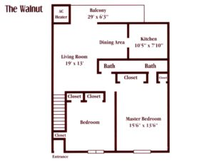 floor plan for a two bedroom apartment in Maple Shade, NJ at Pickwick Apartments